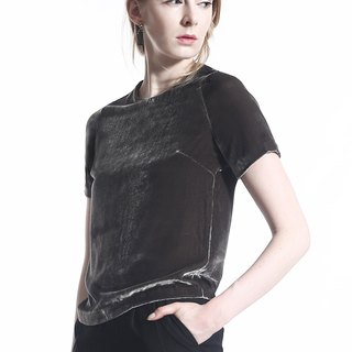 Modern and Elegant Grey SILK Velvet Top