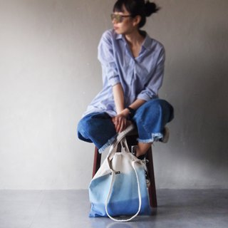 Three-layer blue - Canvas hand dyed Tote double back