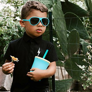 United States silikids Jelly Tableware [TOGO Silicone Environmental Straw Cup Set 12oz] Sky Blue