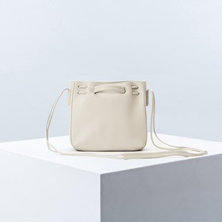 Clyde Cloud XS Leather Bucket Bag in Cream Color