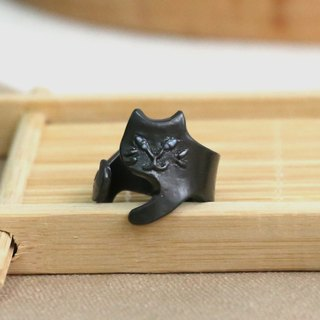 Japanese handmade ornaments - evil black cat ring