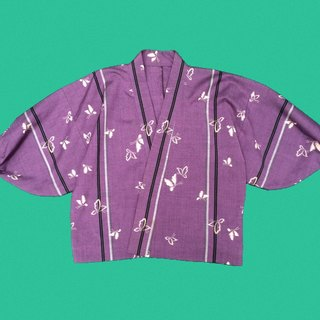 Ancient Cave firm │ purple butterfly very flat KIMONO│ vintage kimono