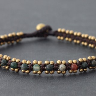 Fancy Jasper Braided Woven Anklet Stone Brass Beaded Cuff Ankle Bracelets