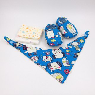 Hand-painted elephant - Miyue baby gift box (toddler shoes / baby shoes / baby shoes + 2 handkerchief + scarf)