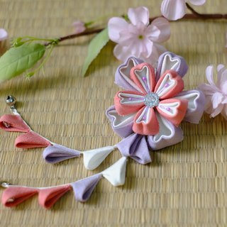 "Hana Saku [ma mi-zu] fretwork double cherry. Bloom | Macaron color ""Lavender: wild berry bright red"" - Japanese-style wind flower hairpin yukata kimono Japanese fabric flower hair ornaments handmade creation"