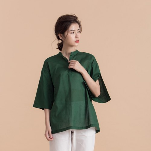 Soft long modeling sleeves collar shirt - green