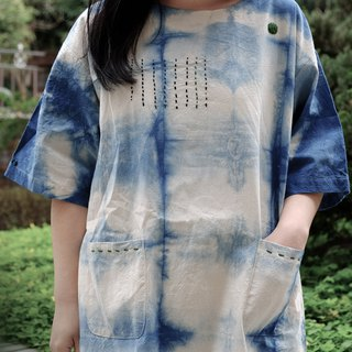 Blue dye this summer like a poem cotton and linen color embroidery long shirt / dress