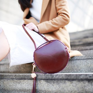 SL semi-circular bag / three-use bag / brown red leather / handbag / side with the bag / bag / bag