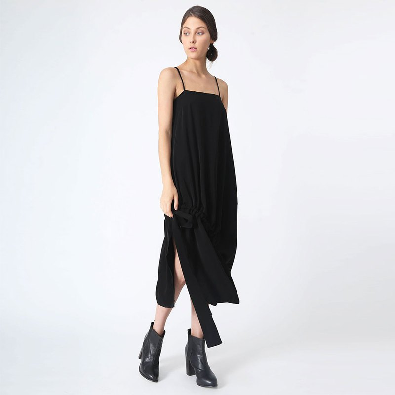 KAI MIDI DRAWSTRING DRESS - BLACK