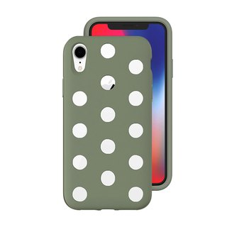 AndMesh-iPhone XR Dot Double Layer Anti-collision Cover - Mud Green (4571384958981