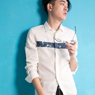 White shirt denim shirt tannin (splicing blue)