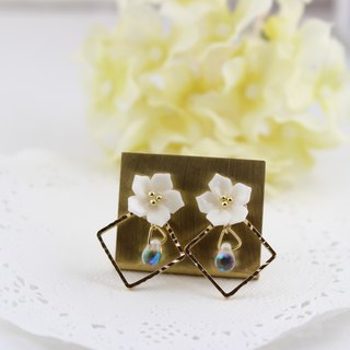 Plumeria and gold square earrings