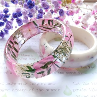 Pressed flowers bangles, real flowers bangles, Pink color