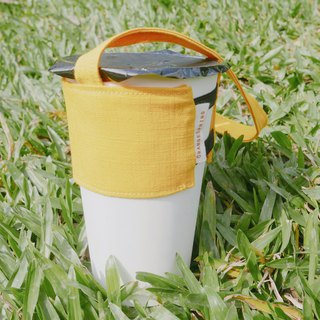 <cloth> carry bag of beverage. Sunshine yellow
