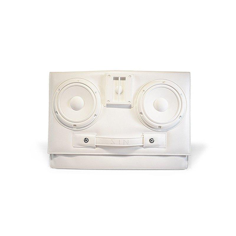 Speaker Convertible Clutch Bag / White