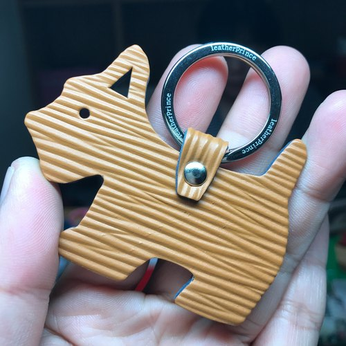 {Leatherprince handmade leather} Taiwan MIT light brown cute shenrui silhouette version leather key ring / Schnauzer Silhouette epi leather keychain in brown (Small size /