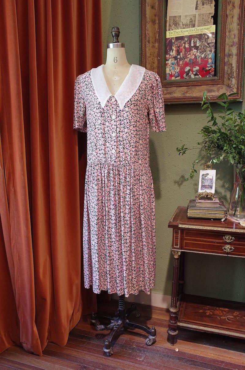 vintage dress歐根紗翻領連衣裙古著洋裝