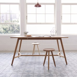 Everyone came to the coffee (foot) handmade oak dining table (150X80)