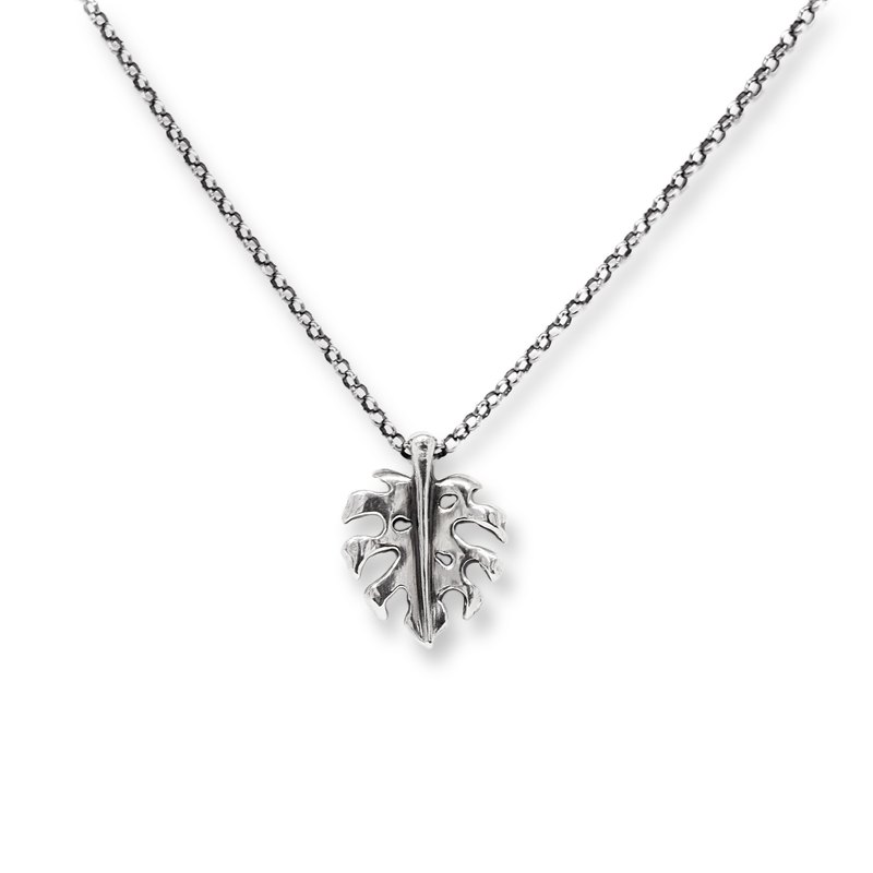 Monstera necklace 925 silver handmade silver