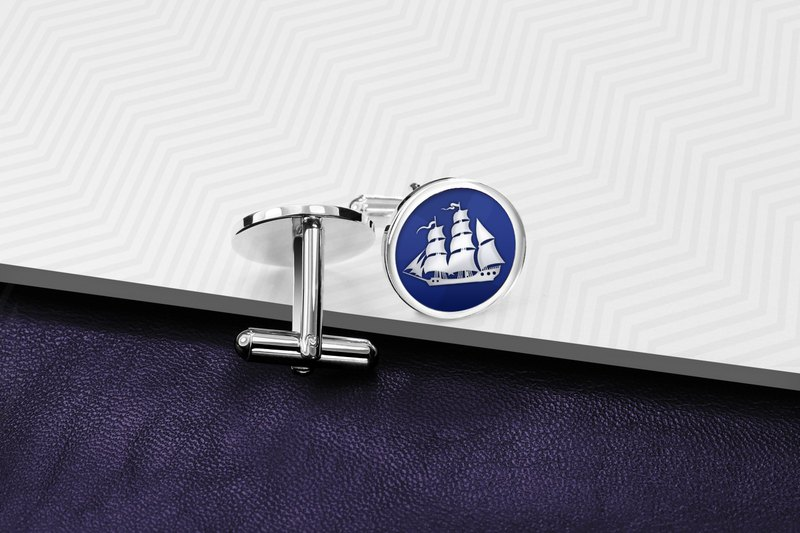 Marine Cufflinks - Ship Cufflinks - Enamel Cufflinks - Sailor cufflinks