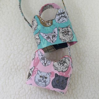 Cat face / two-color cat ears with eco-friendly drink cup sleeve bag / double-sided available