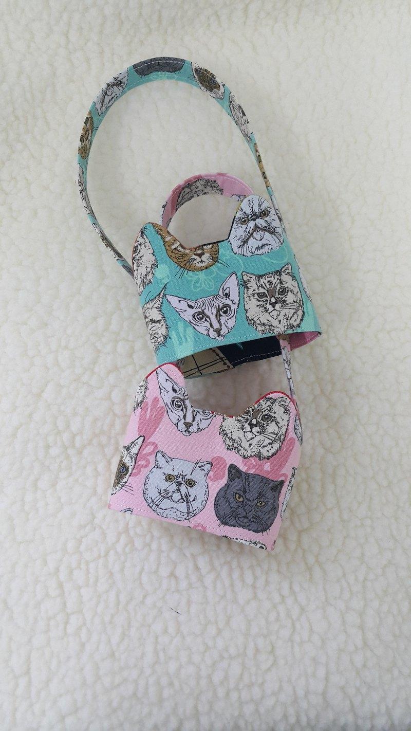 貓臉/兩色  貓耳朵帶著走環保飲料杯套提袋/雙面可用