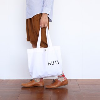 Dyed cotton boil tote bag white
