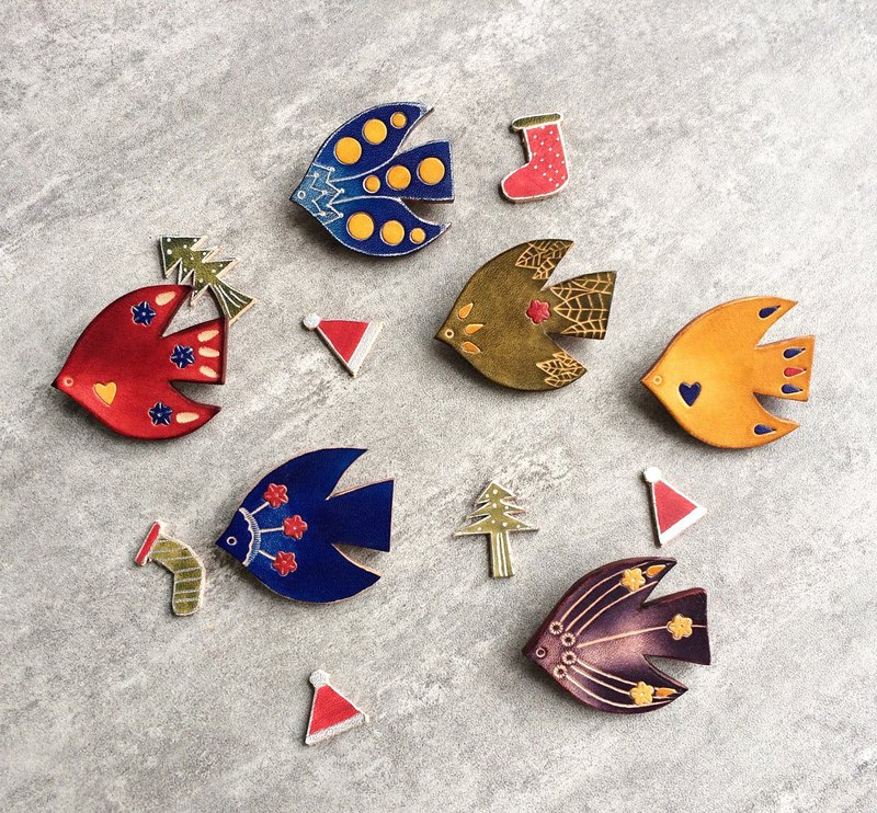 Lucky Bird Brooch / Pin Leather Free Customization