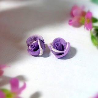 Rose Garden - Purple Rose Earrings Ear hook or ear clip Gift for her / Handmade
