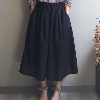 /Eagle Forest / Bright black linen dress 100% linen
