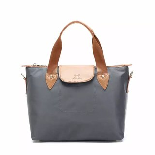 Simple water-repellent portable shoulder two-piece handbag / cross-body bag / shoulder bag / tote bag / gray