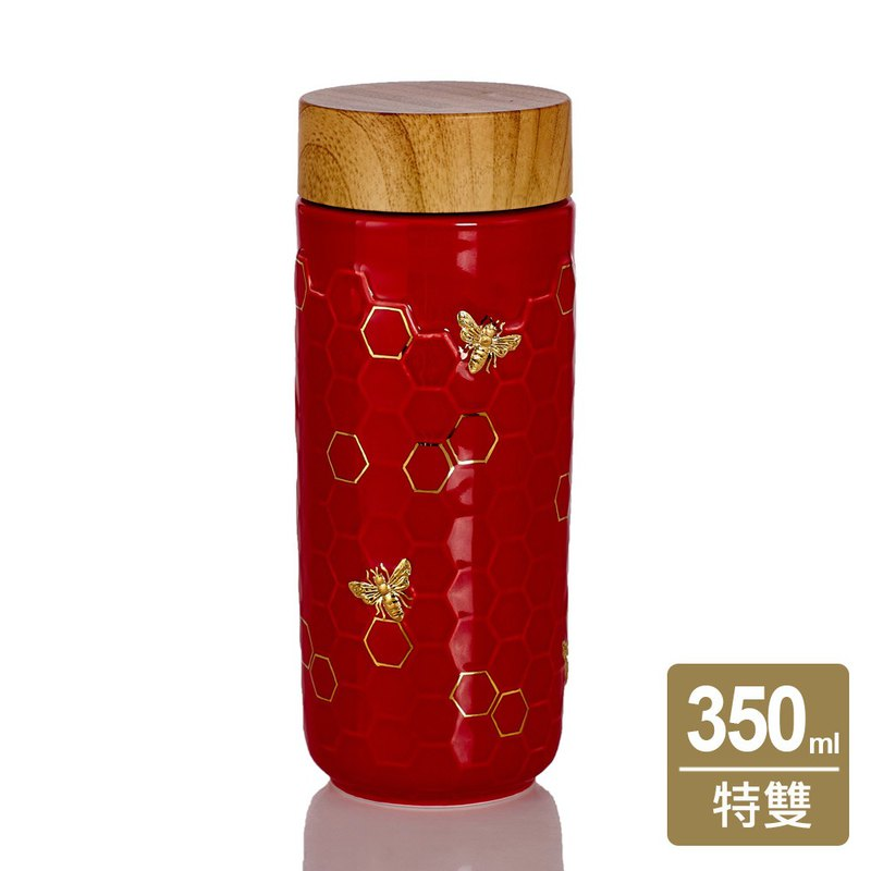 Big Harvest Cup / Large / Double / Chinese Red Gold / Imitation Wood Cover