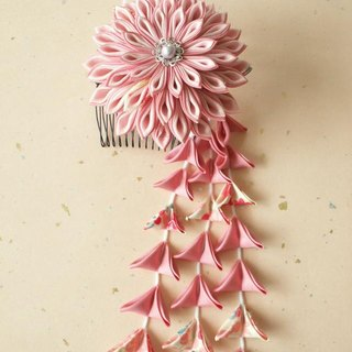 ♪ perfect to knob crafted hair ornaments of sword knob made from old cloth <pink> coming-of-age ceremony