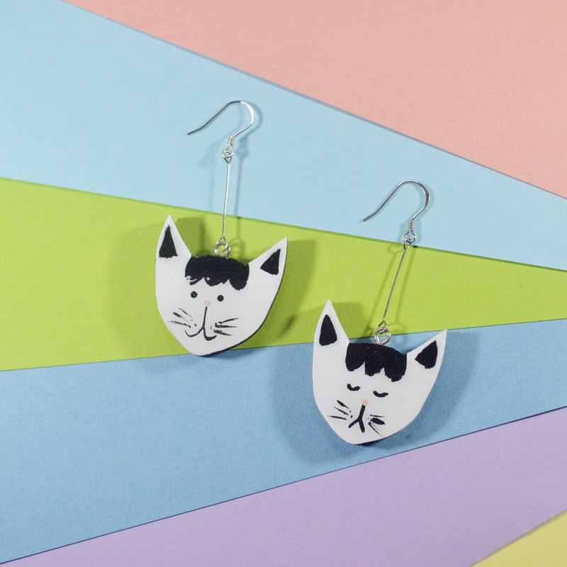 森林童話 貓咪先生雙面長款耳環耳夾 手繪木製 樹脂封層 大