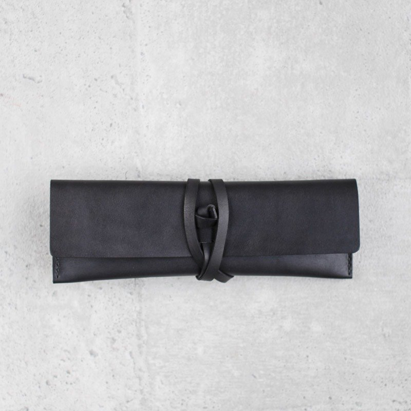 Black Leather Pencil Case/Pen Pouch/ Sunglasses Case