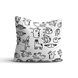 [Animal Graffiti] Black and White Pillow