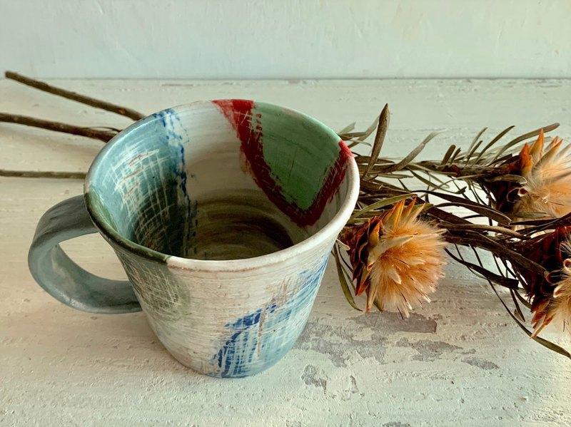 彩色斑駁咖啡杯_陶器馬克杯