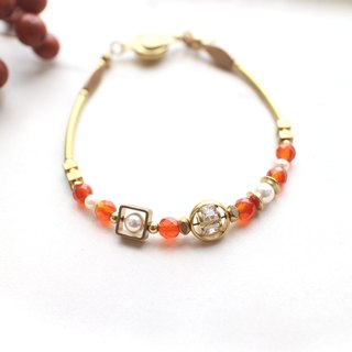 Maple-Red agate pearls zircon brass bracelet