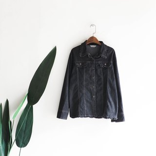 Wakayama black black lace stitching roll romantic antique cotton denim shirt jacket coat shirt