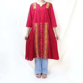 BajuTua / vintage / Indian embroidery small round mirror seven-point sleeve dress
