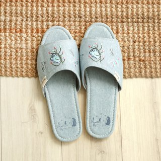 Organic cotton color embroidery indoor slippers (color dandelion) twist blue