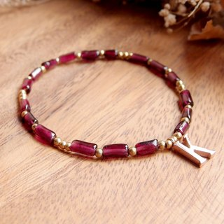♦ ViiArt ♦ Noble - ♦ red garnet rose gold letters customized brass bracelet
