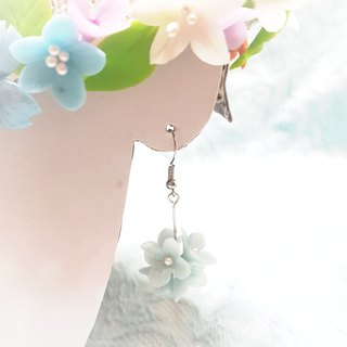 Pearl light blue flower ball earrings