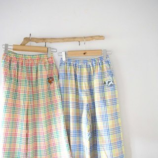 Love sleeping puppy comfortable hand-made Plaid cotton pocket wide pants