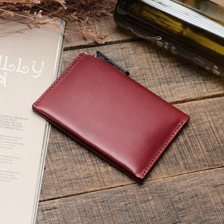 Retro Burgundy red dip dyed yak leather handmade passport holder