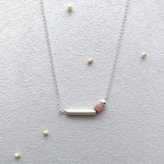[Exist]. Sterling Silver Rose Stone Necklace