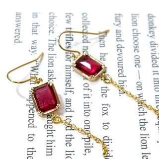 SL296 Light you up retro red box earrings (can be changed folder)