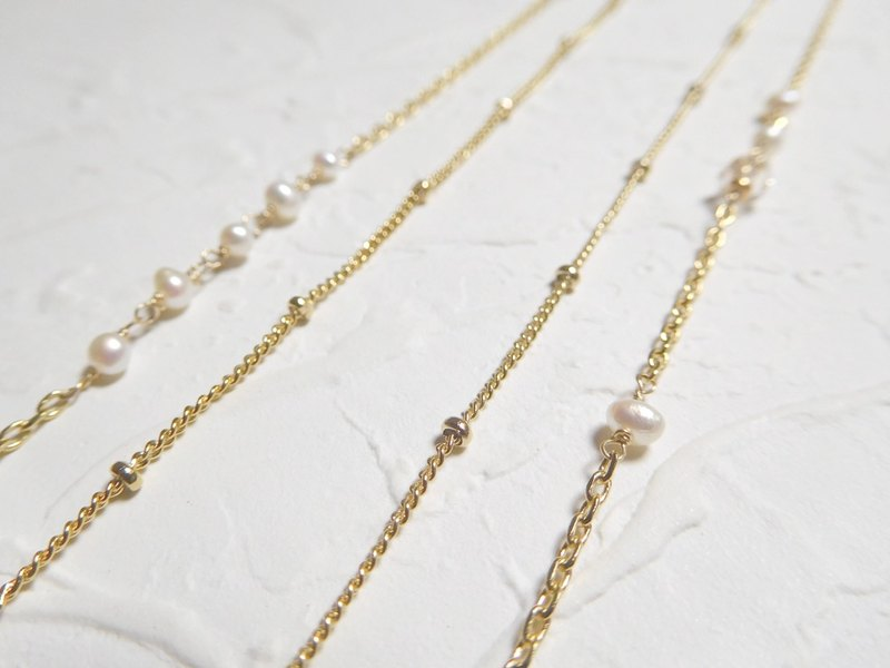 Asymmetric small pearl long double chain