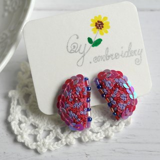 Qy.embroidery color wings, scent, purple, hand-embroidered earrings, ear clips