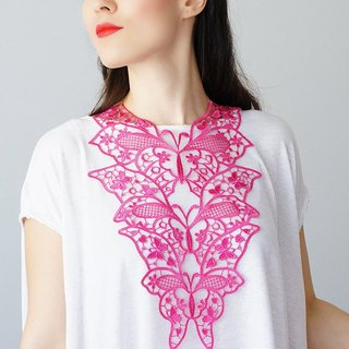PINK  Clothing Gift Necklace Venise Lace Necklace Lace Jewelry Bib Necklace Statement Necklace Body Jewelry Gift/ FIORDI